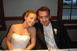 Chris and Meg at their wedding