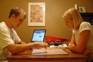 Travis and I playing Scrabble--which we did almost everyday when we first moved to Colorado