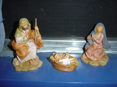 Nativity set was a wedding present. It's sitting on our kitchen windowsill.