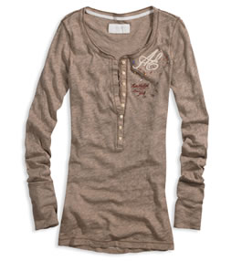 Long sleeve tee with embroidered detail