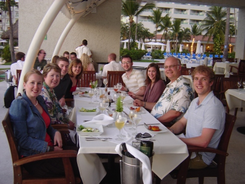 From the left, me, my mom Sheri, cousin Tim, his gf Lauren, brother Brian, his gf Lindsay, my dad David, and my husband Travis