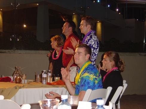 The Krsnaks at their beach table