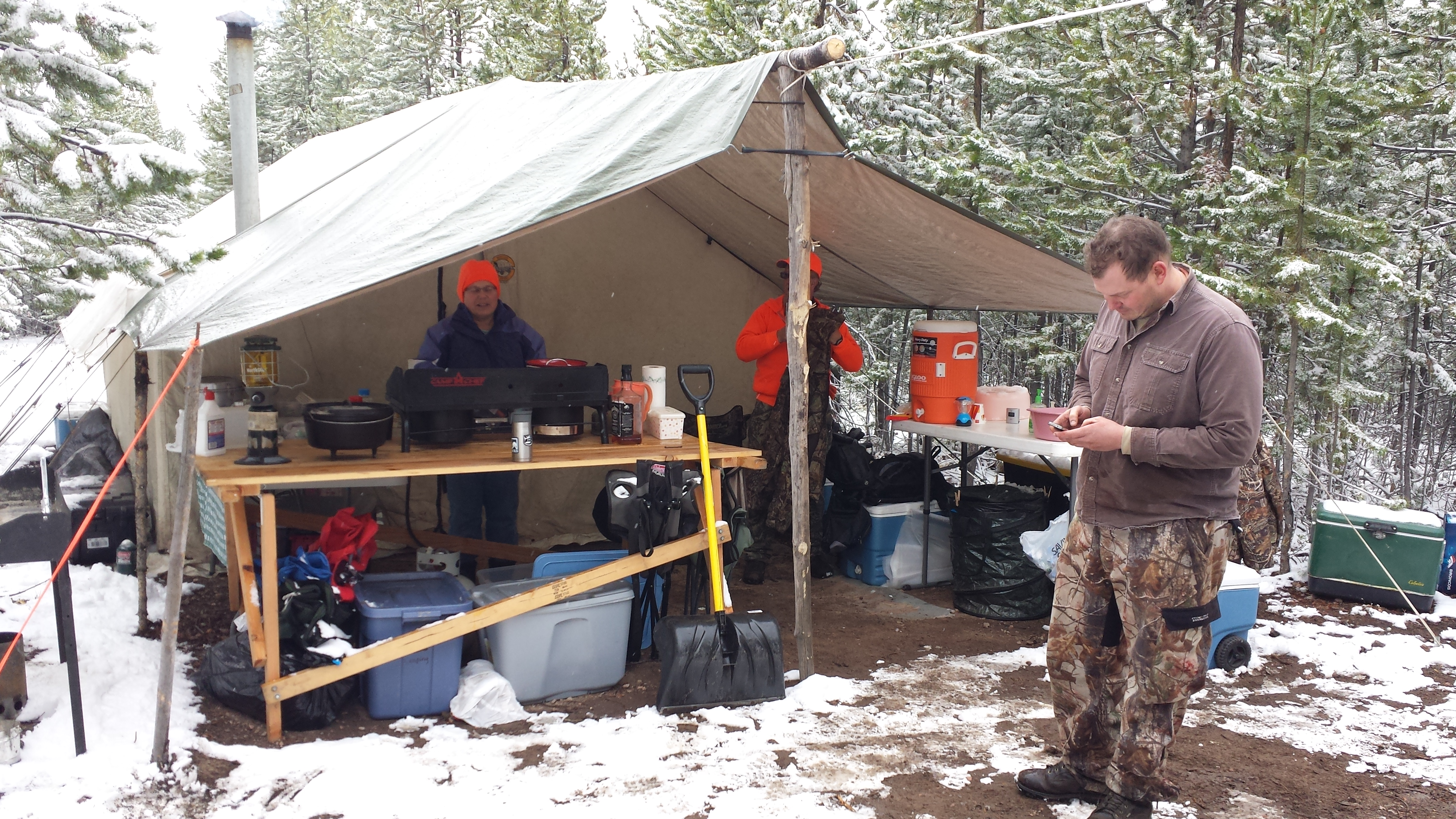 The next day (Sunday) it snowed 4-5 inches so Beth and I stayed hunkered down in the nice warm wall tent except for a walk up and down the road during a ... & Colorado | Life Really Blog